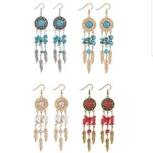 Jewelry - Bohemian Dangle Feather Natural Stone Earrings.